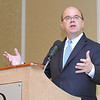 Congressman Jim McGovern gives some remarks at the Poverty at Home/ Reason for Hope program held at the DoubleTree by Hilton in Leominster on Friday morning. SENTINEL & ENTERPRISE/JOHN LOVE