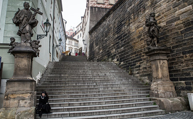 Stairs up to the Prague Castle area