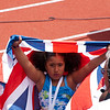 Rhianna daughter of Mo Farah, Great Britain celebrates