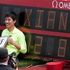 Li Xiang 12.87 110m hurdles. Could have equaled the world record but was slightly wind assisted