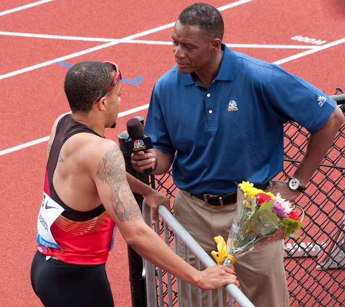Wallace Spearmon, United States being interviewed by NBC's Lewis Johnson.