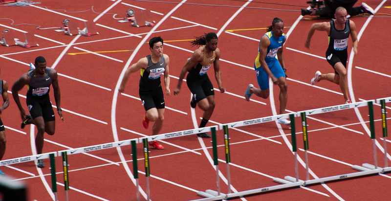 Approaching the first hurdle of the 110m hurdles event