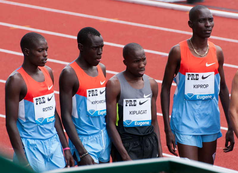 Kenyan runners in the mile event