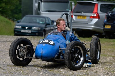 Prescott Speed Hill Climb 2016 La Vie en Bleu Parked Cooper with Driver