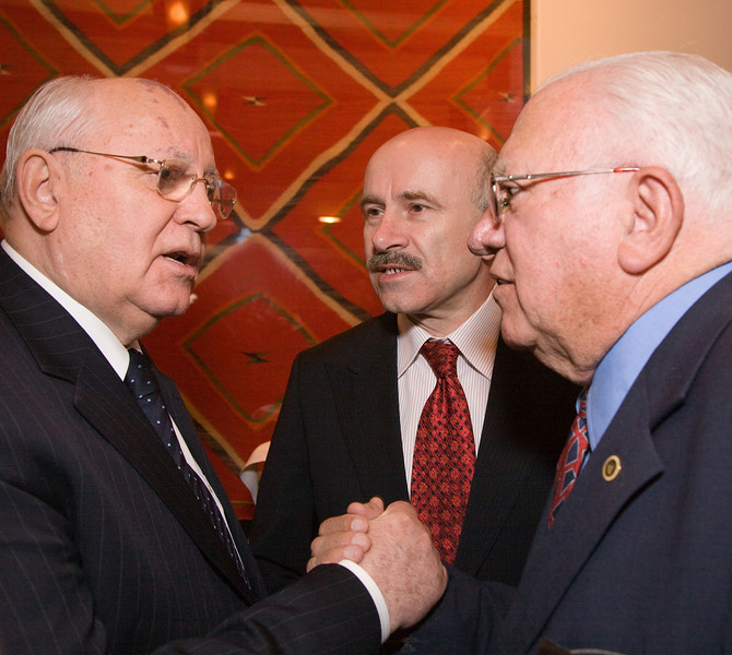 President Mikhail Gorbachev and Ambassador at-large James Sweeney.  Ambassador Sweeney worked on nuclear non-proliferation issues.