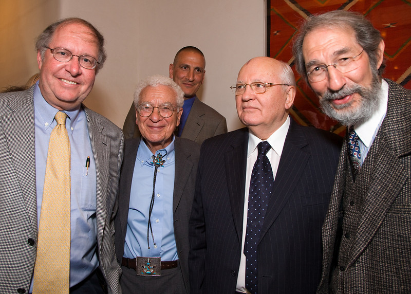 Left to right:  Dr. Bill Miller, Chairman of the Board, Santa Fe Institute; Dr. Murray Gell-Mann, Professior, Santa Fe Institute; President Mikhail Gorbachev; Dr. Geoffrey West, President of the Santa Fe Institute.