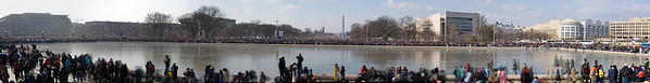 Panoramic stitch of crowd down the mall and around the reflecting pool - roll over and click to view larger versions