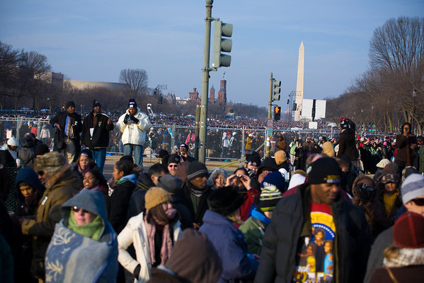 folks from all over the country - many had won lotteries from their member of congress to get tickets - This photo is looking west, facing 4th street. The Smithsonian Castle and Washington Monument are visible in the background.