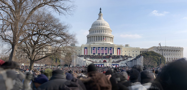 Obama giving his inaugural address (panoramic from multiple images)