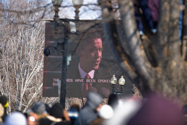 Jumbotron on the capitol grounds during Obama's inaugural address