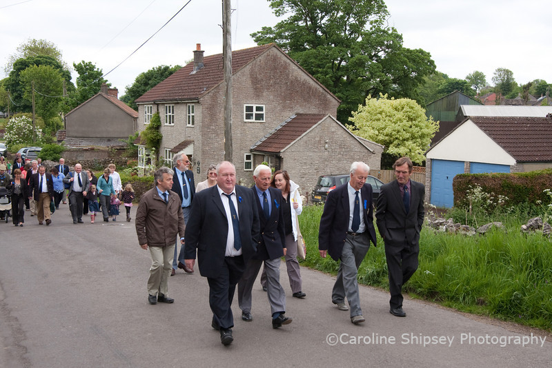 Priddy Friendly Society marching to church