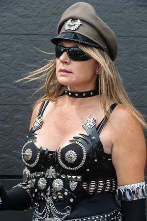 A women participant in elaborate punk costume ready for the Pride Parade Ponsonby Auckland
