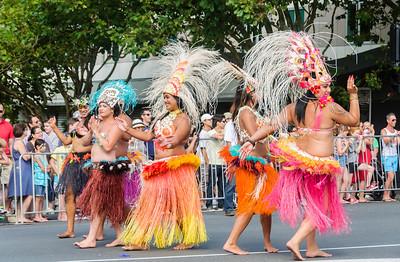 Colourful hula dancers Pride Parade Ponsonby Road Auckland