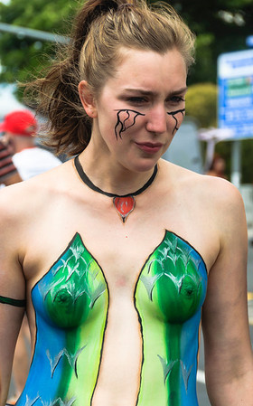 Woman participant with body paint, ready for the Pride Parade Ponsonby Auckland
