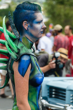 Woman participant with fantasy theme body paint, ready for the Pride Parade Ponsonby Auckland