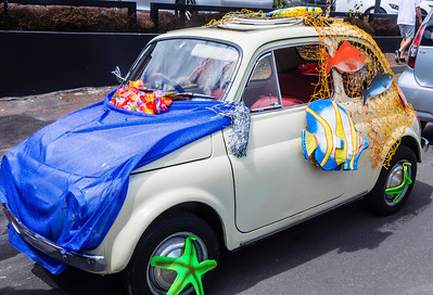 Small car decorated with maritime themes ready for the Pride Parade Ponsonby Auckland