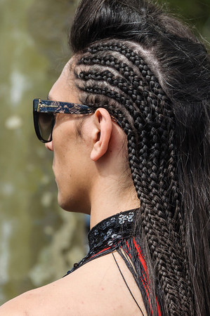 Young man participant with braided hair, ready for the Pride Parade Ponsonby Auckland