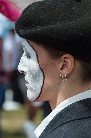 Face of a mime performer at the Pride Parade Ponsonby Auckland