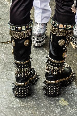 Elaborate high platform boots worn by participants in the Pride Parade Ponsonby Auckland