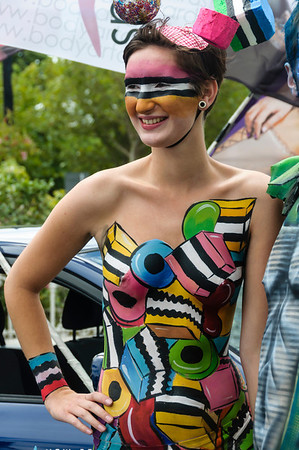 Woman participant with liquorice allsort theme body paint, ready for the Pride Parade Ponsonby Auckland