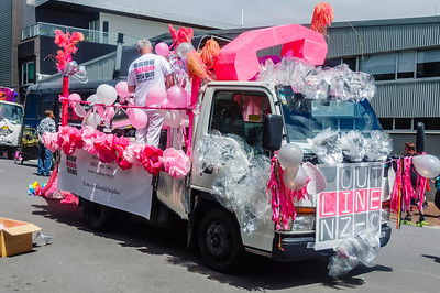 A truck decorated with pink ballons getting ready for the Pride Parade Ponsonby Auckland