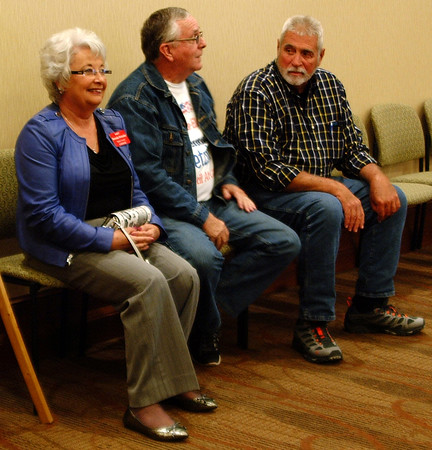 Diane Raver | The Herald-Tribune<br /> Brenda (from left) and Tom Wetzler and retired commissioner Robert Reiners anxiously wait for the results to come in.