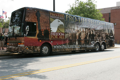 The Pro-Life Freedom Ride bus pulls up in front of the King Center, Atlanta, Ga. The 147 mile journey from Birmingham, Ala. was preceded by a prayer vigil at the city's Planned Parenthood building. A pro-life prayer service was held on a sidewalk across from the King Center.