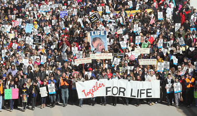 Those in support of a pro-life society took to the streets in a silent march through downtown Atlanta.