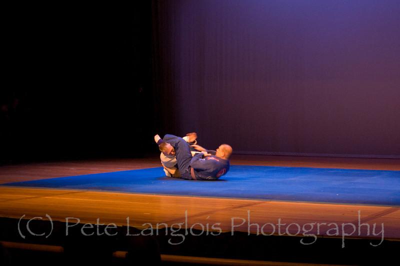 Professional Martial Arts Academy Black Belt Extravaganza November 24, 2007 held at Pinkerton Academy's Stockbridge Theater in Derry, NH - BJJ Purple Belt Tim Barchard (under BJJ Black Belt Keith Florian) and BJJ Blue Belt Todd Waardenburg give a Brazilian Jiu Jitsu demonstration.
