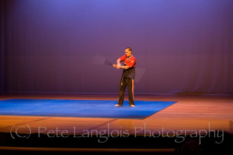 Professional Martial Arts Academy Black Belt Extravaganza November 24, 2007 held at Pinkerton Academy's Stockbridge Theater in Derry, NH - Sensei Joe Scoppettuolo and Tashi Mark Warner from PMA Academy in Ipswich, MA perform a bo staff demonstration