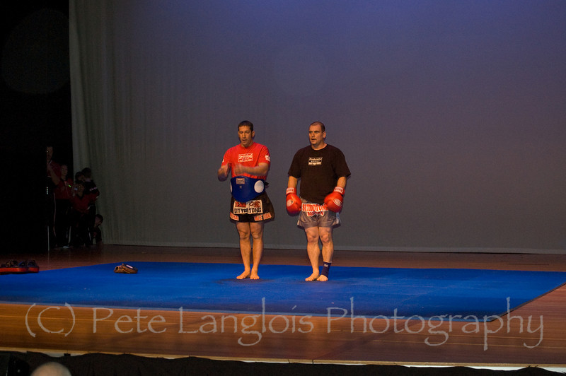Professional Martial Arts Academy Black Belt Extravaganza November 24, 2007 held at Pinkerton Academy's Stockbridge Theater in Derry, NH - Tim Barchard under tutelage from his Muai Thai trainer Kru Mark DellaGrotte of Sityodtong performs a Muay Thai demonstration