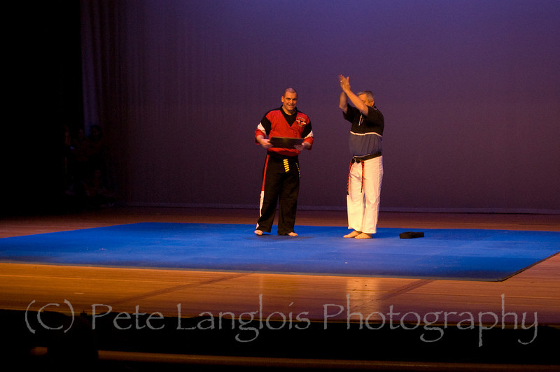 "Professional Martial Arts Academy Black Belt Extravaganza November 24, 2007 held at Pinkerton Academy's Stockbridge Theater in Derry, NH - Grandmaster 10th degree black belt ""Dashi"" Bob Young from Eastern Kempo Karate promotes 5th Degree Black Belt Shihan Tim Barchard to 6th Degree Black Belt"