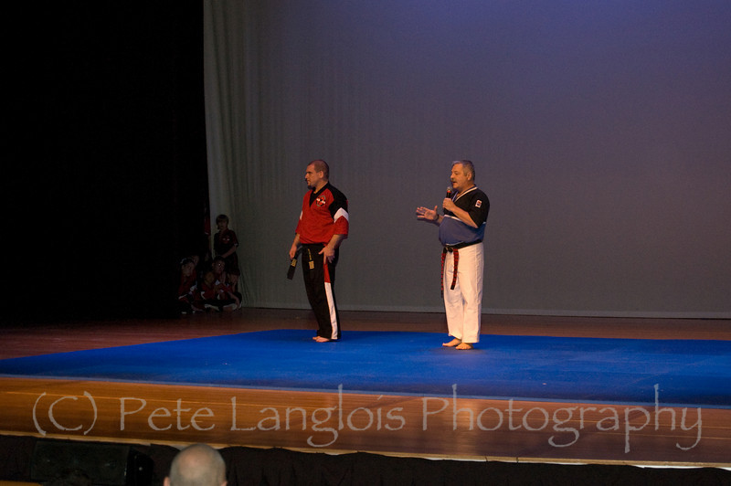 "Professional Martial Arts Academy Black Belt Extravaganza November 24, 2007 held at Pinkerton Academy's Stockbridge Theater in Derry, NH - Grandmaster 10th degree black belt ""Dashi"" Bob Young from Eastern Kempo Karate gets ready to promote 5th Degree Black Belt Shihan Tim Barchard to 6th Degree"