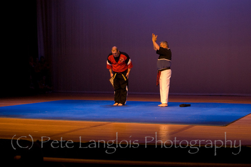 """Professional Martial Arts Academy Black Belt Extravaganza November 24, 2007 held at Pinkerton Academy's Stockbridge Theater in Derry, NH - Grandmaster 10th degree black belt """"Dashi"""" Bob Young from Eastern Kempo Karate promotes 5th Degree Black Belt Shihan Tim Barchard to 6th Degree Black Belt"""
