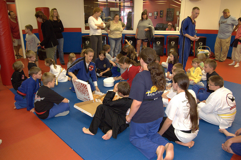 The participants enjoyed a pizza party after the Kick-A-Thon.