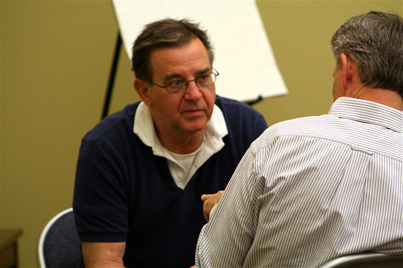 Fr. Mark Fortner in discussion with Fr. Jim Brackin.