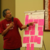 Br. Clay Diaz reads the feedback from the morning's table discussions.