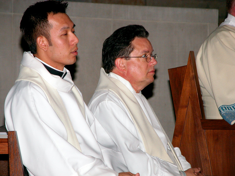 Fr. Vien Nguyen and Fr. Jack Kurps listen to the Gospel.  Both SCJs were elected to the new Provincial Council.