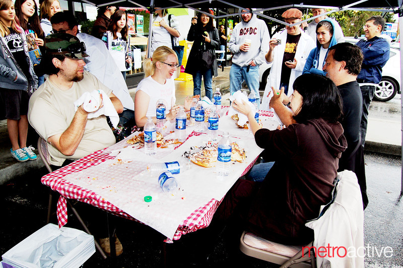 """14"""" Donut Pizza Eating Contest<br /> Won by Dax Swanson in 14 min and 40 seconds!<br /> Photos by Annalisa Hackleman"""