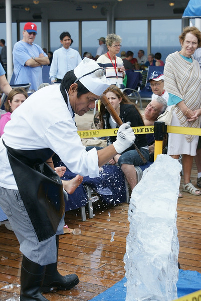 Ice sculpting on cruise ship 2010.