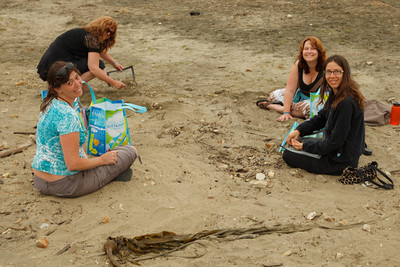 Ann, Heidi, Kelly and Nikki cleaning the beach.