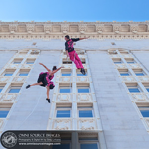 Bandaloop Performs on the Face of City Hall. Art+Soul Festival Oakland - August 2, 2014.