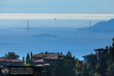 The Blue Angels in Formation over the Golden Gate Bridge. Photo taken from Grizzly Peak in the East Bay Hills. Fleet Week Air Show 2011