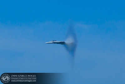 FA-18 Super Hornet at the threshold of breaking the sound barrier! 1/1250 sec at f/8, ISO 800. (EF70-200mm f/2.8L IS II USM). SF Fleet Week Air Show 2011