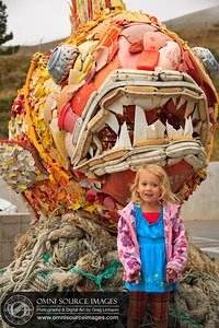 Henry the Fish & Maisie: Washed Ashore Art Exhibit - Marine Mammal Center. Materials: plastic pieces, aluminum cans, dish soap bottles, lids, buoys, toys and recycled rebar.