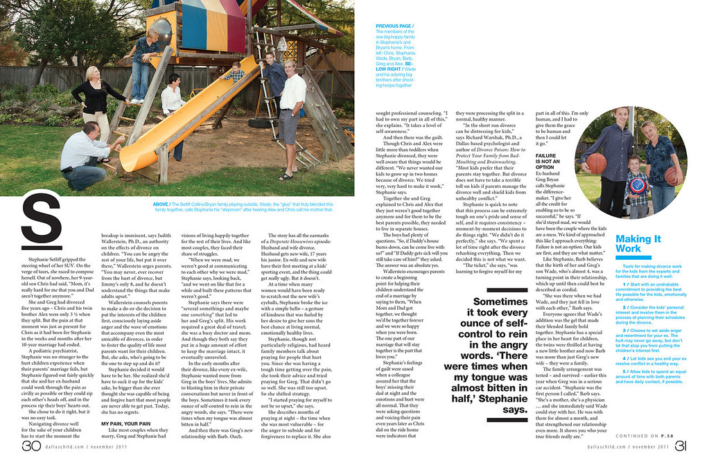 'One Big Happy Family' article in <br /> November 2011 issue of Dallas Child