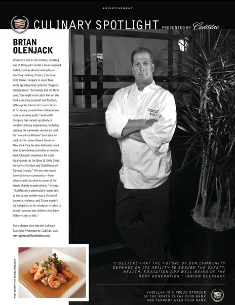 Brian Olenjack for Cadillac Culinary Spotlight featured in May 2012 issue of Modern Luxury Dallas