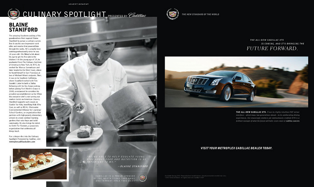 Blaine Staniford for Cadillac Culinary Spotlight featured in May 2012 issue of Modern Luxury Dallas
