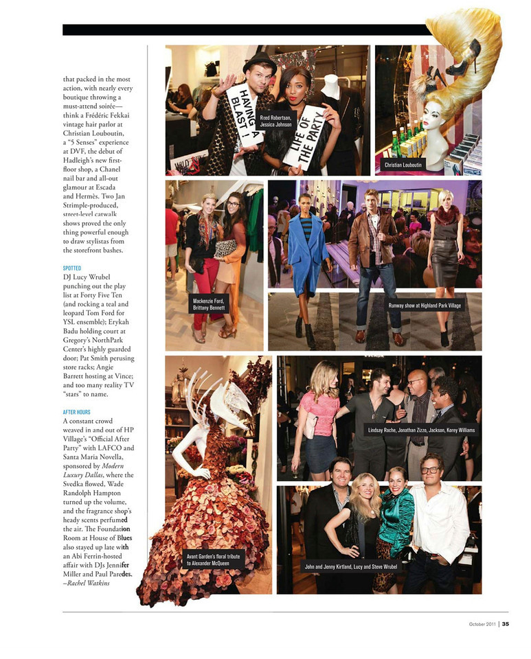 Fashion's Night Out 2011 Photos Spread featured in Modern Luxury Dallas October 2011 issue