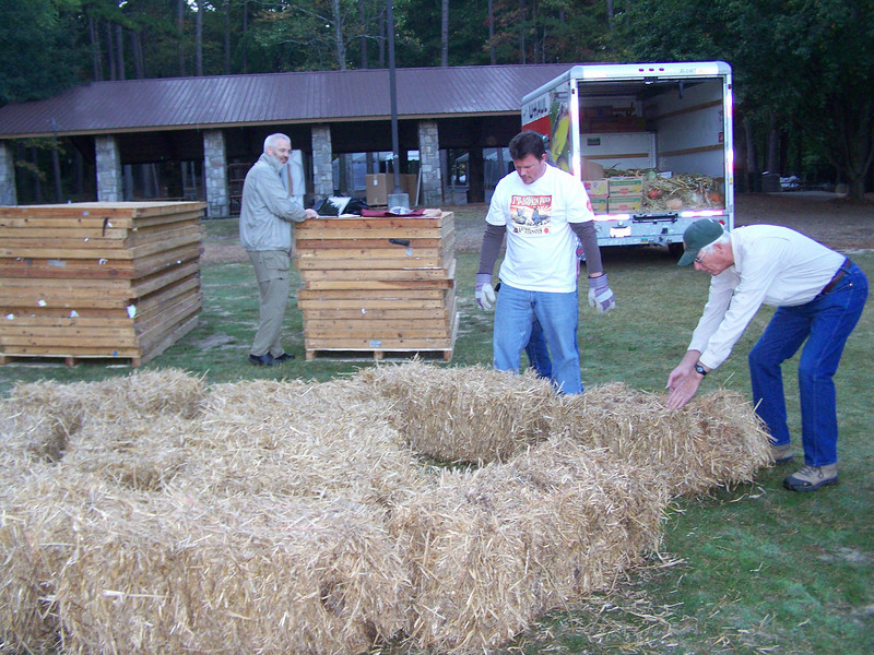 Hay was not real tight and that was a problem putting up the pyramid.